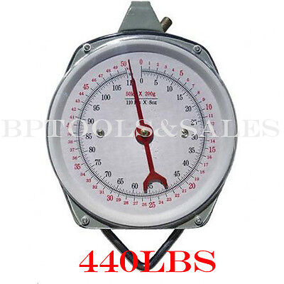 440 Lbs Spring-dial Hoist Scale Hang Up Scale Dial Weight Accurate Produce Food