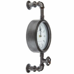 Durable Steampunk Inspired Industrial Pipe Wall Clock Rustic Country Decor Gray