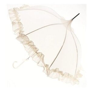 NEW Lisbeth Dahl Cream Frill Umbrella Wedding Bridesmaid Bride