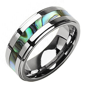 Stunning-Tungsten-Carbide-Abalone-Stripe-Inlaid-Wedding-Band-Ring-Sz-5-15