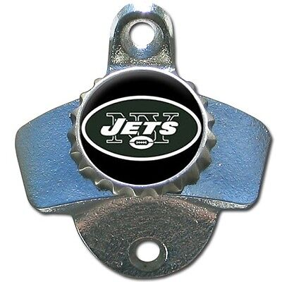 New York Jets NFL Football Wall Mount Metal Pub Bar Bottle Opener - Brand - Jets Wall Mounted Bottle Opener