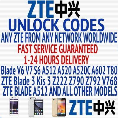 ZTE UNLOCK CODES ALL PHONE MODELS WORLDWIDE FACTORY UNLOCK SERVICE FAST SERVICE
