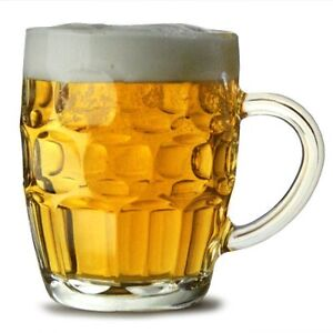 Traditional Glass Pint Tankards Set of 2   Also known as Dimpled Beer Tankard