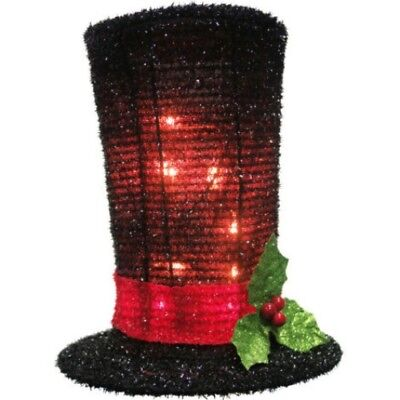 Christmas Tree Topper or Centerpiece mantel Snowman Top Hat Lighted 8 1/2 inch - Top Hat Tree Topper