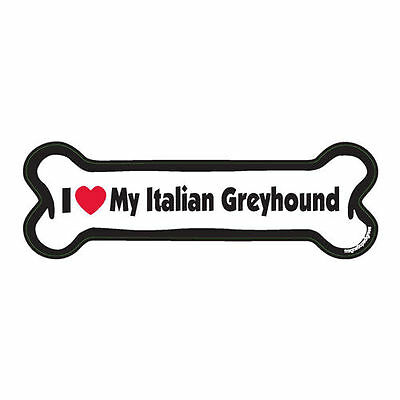 I Love My Italian Greyhound Dog Bone Car Magnet