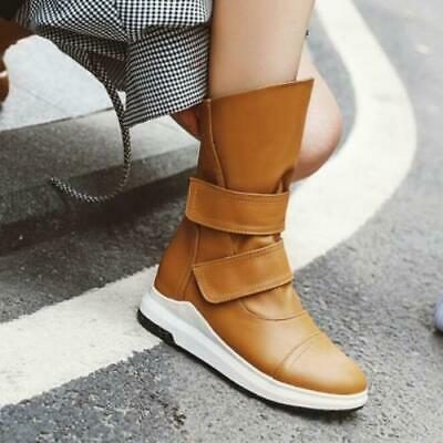 Details about  /Women Mid-calf Boots Round Toe Block Low Heel Non-slip Motorcycle Shoes 34//42 L