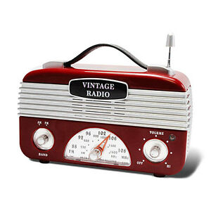 New-Portable-Red-Silver-1940s-Style-Look-Vintage-Retro-AM-FM-Radio-Old