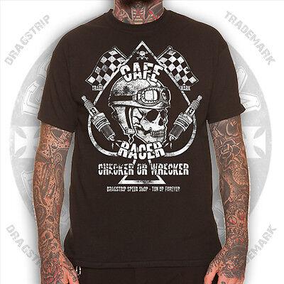 Dragstrip Clothing Checker Wrecker Cafe Racer Greaser 13  tattoo biker  t`shirt