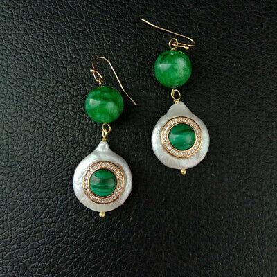 Malachite Hook (Coin freshwater Pearl Green Jade Cubic Zircon Micro Pave Malachite Hook Earrings )