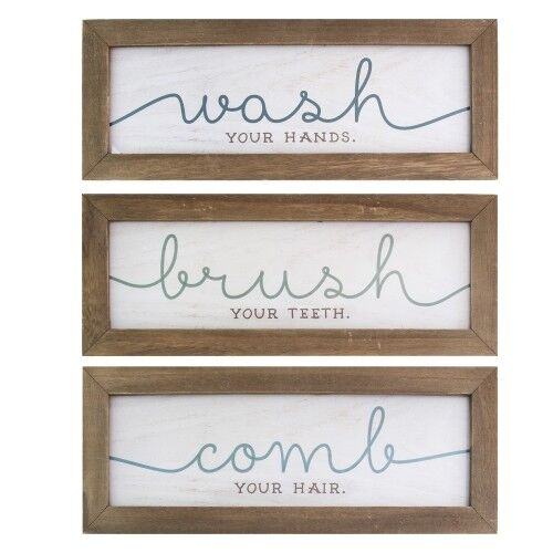 Bathroom Sayings Wall Art.Details About Wash Brush Comb Bathroom Hanging Interior Wall Art Home Decor