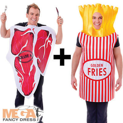 Steak + Fries Adults Fancy Dress Chips Novelty Food Mens Ladies Couples Costume