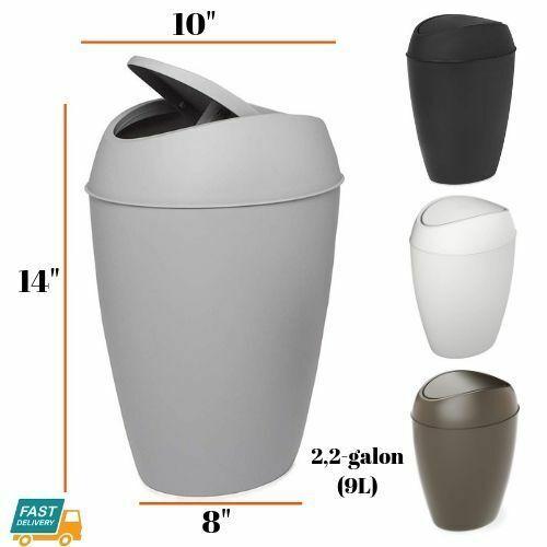 bathroom trash can swing top lid plastic