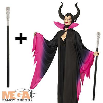 Evil Sorceress Ladies Fancy Dress Halloween Maleficent Adults Costume + Cane