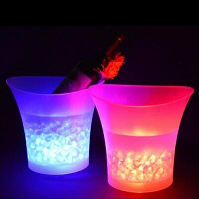 5L Champagne Wine Drinks Beer LED Ice Bucket Cooler 7 Colour Glowing Party Bar