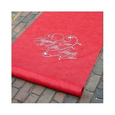 Red Wedding Runner Aisle Happy Ever After Indoor Outdoors Bride / Groom Ceremony