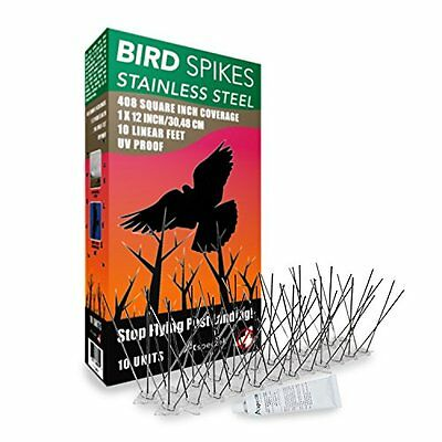 Aspectek Stainless Steel Bird Spikes Kit, 10 Feet with Transparent Silicone Glue
