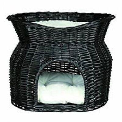 Trixie Cat Pet Wicker Basket Black with Sun Roof 2 Pillow 54 x 43 x 37 Cm 2872