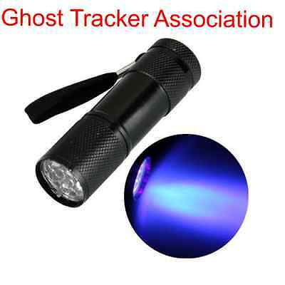 ghost hunting UV torch 9 LED paranormal flashlight ultraviolet equipment lamp
