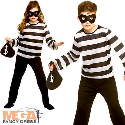 Sneaky Robber Kid Fancy Dress Inmate Criminal Prisoner Boys Girls Childs Costume](Girl Inmate Costume)