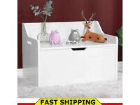 Large Wooden Toy Box White Star Chest Storage Unit Toys Children Nursery Bedroom