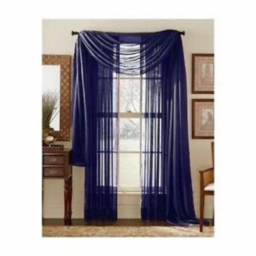 NAVY BLUE SCARF SHEER VOILE WINDOW CURTAIN DRAPES VALANCE MA