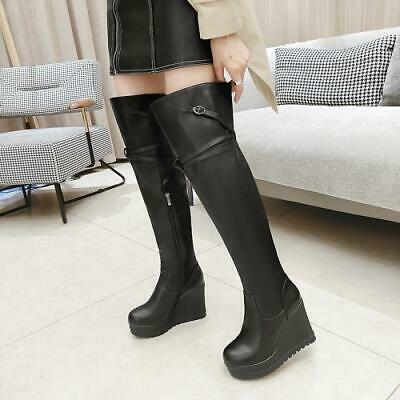 Details about  /Womens Platform Pull On High Heel Over Knee Thigh High Boots Shoes Casual Fei34