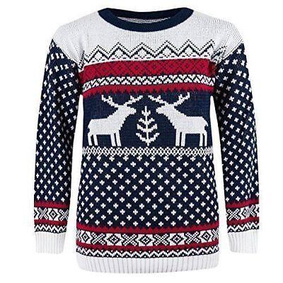 Ladies Men's Sweater Christmas Jumper Xmas Novelty Unisex Knit Long Sleeve Retro ()