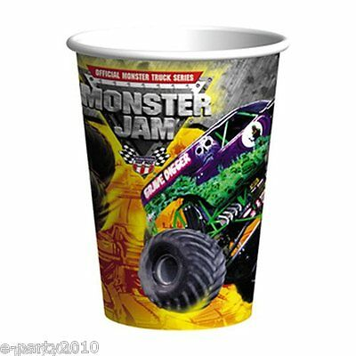Monster Jam 9Oz Paper Cups  8    Birthday Party Supplies Beverage Drinking Truck