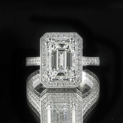 3.11ct GIA 18K White Gold Emerald Cut Diamond Engagement Ring G/VS1 (2166966309)