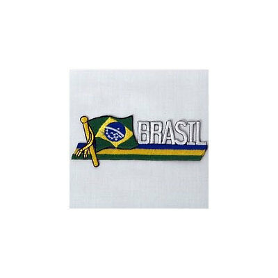BRASIL SIDEKICK WORD COUNTRY FLAG IRON-ON PATCH CREST BADGE 1.5 X 4.5 IN. Brazil Country Flag