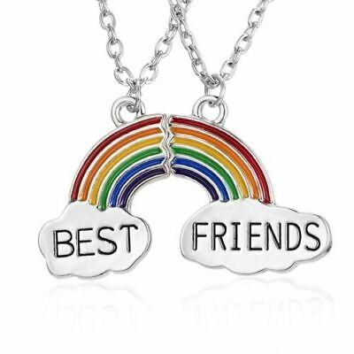 NEW BEST FRIEND Rainbow Color Enamel Pendants 2 Necklace BFF Friendship