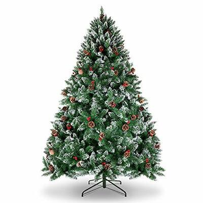 WBHome 6 Feet Snow Flocked Premium Spruce Hinged Artificial Christmas Tree 80...