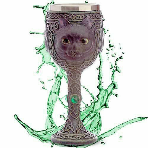 Decorative Fantasy Celtic Cat Goblet Wiccan Pagan Gothic Chalice Cup Ornament