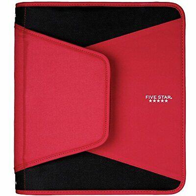 Five Star 1-12 Inch Zipper Binder 3 Ring Binder 3-pocket Expanding File Red
