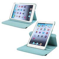 360-Degree Swivel Leather Case for Apple iPad mini, Light Blue