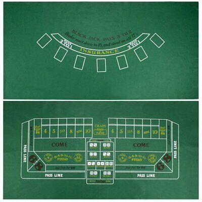 Blackjack & Craps Green Casino Gaming Table Felt Layout, 36