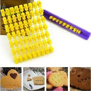 Cake Decorating Alphabet Number Cookies Biscuit Letter Stamp Embosser Cutter Set