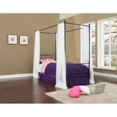 Photo Canopy Princess Bed Wrought Iron Pink White Black Kids Girls Frame Furniture New