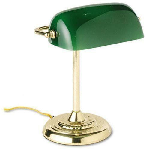 Green Glass Shade Bankers Lamp Ebay
