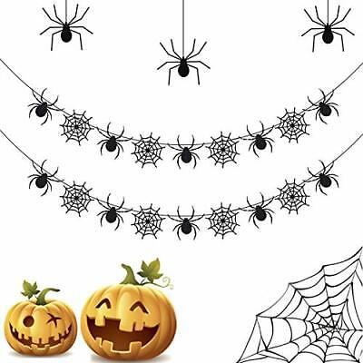 2 Pack Halloween Banners,Spiderweb Garland for Party Decoration Spider Web Decor