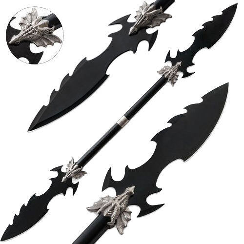 Dueling Dragons Double Blade Fantasy Spear Naginata Steel 48in Long