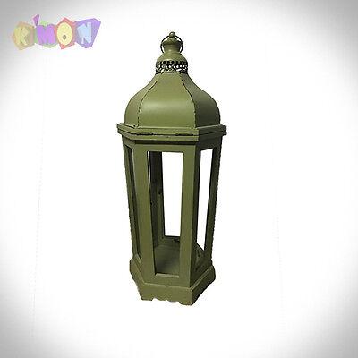 6575 Farol de madera vintage Verde