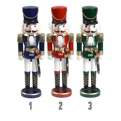 28cm Traditional Wooden Standing Nutcracker (Blue) Christmas Decoration