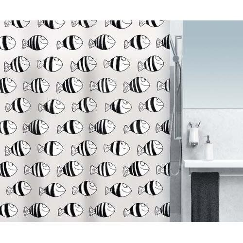 Fofy Black Fish Shower Curtain 180 X 200 Cm 100 PEVA White Branded Product