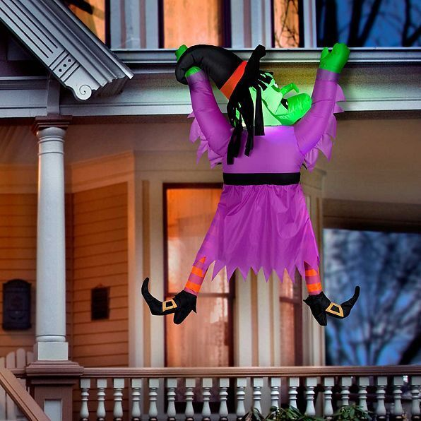 """60"""" Lighted Inflatable Hanging Gutter Witch Outdoor Halloween Yard Decoration"""