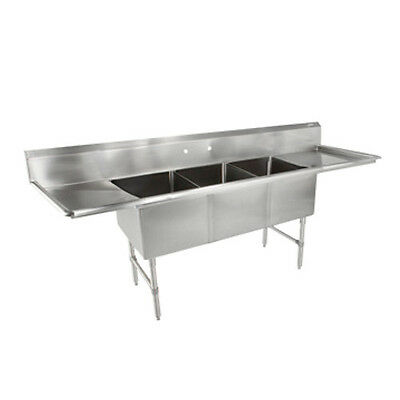 John Boos 3b16204-2d24 Three Compartment Sink W Two 24 Drainboards
