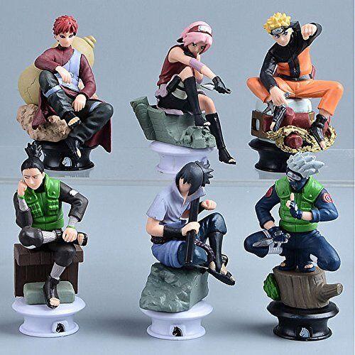 6 pcs Naruto Figures Chess Set: Uzumaki Kakashi Sasuke Gaara Sakura Shikamaru Animation Art & Characters