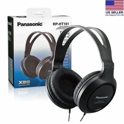 Panasonic Headphones RP-HT161-K Full Sized Over The Ear Lightweight Long Corded