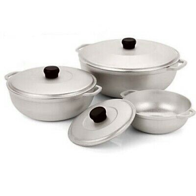 3 Pieces Caldero Silver IMUSA USA Natural Cast Aluminum With Lid Dutch Oven Set