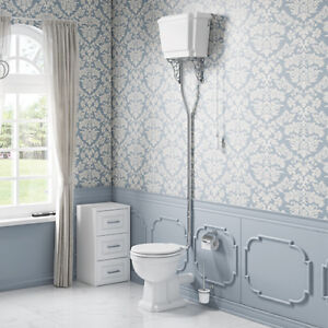 High/Low Level Bathroom Victorian Design Traditional Toilet WC White
